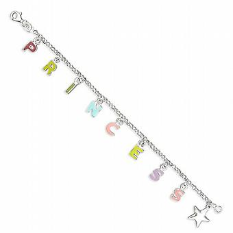 TOC Sterling Silver Princess & Star Charm Bracelet for Girls  15cm