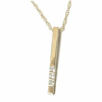 Toc Sterling Silver and Cz Drop Pendant on 18 Inch Chain