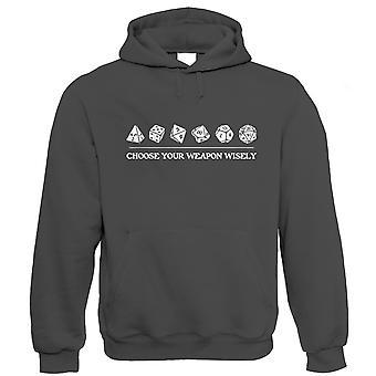 Escolha sua arma sabiamente hoodie | Dungeons Dragon D&D DND Pathfinder 3,5 Tarrasque | Trono carmesim poliédrico D20 quinta 5ª edição | Hobbies presente ele seu aniversário