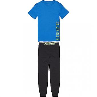 Calvin Klein Boys Knit PJ Set, Imperial Blue / Black, Medium