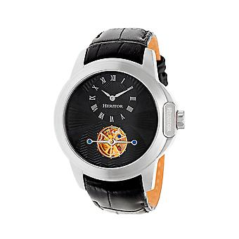 Heritor Automatic Windsor Semi-Skeleton Leather-Band Watch - Silver/Black