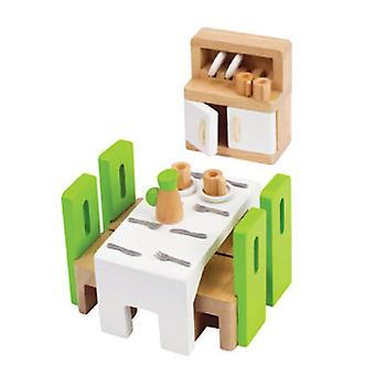 Hape Dining Room Green Stools White Table Cupboard with White Doors