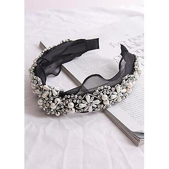 Nudo Frontal Perla y Diamante Embellished Diadela Negra