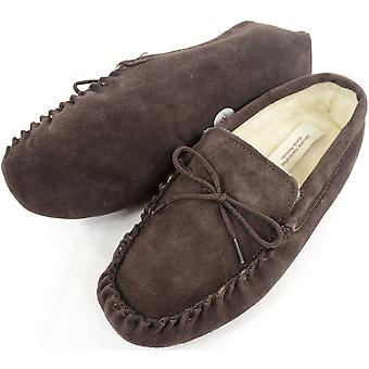 Ladies Brown Lammfell Mokassin Slipper