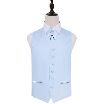 Plain Baby Blue Satin Wedding Waistcoat & Cravat Set