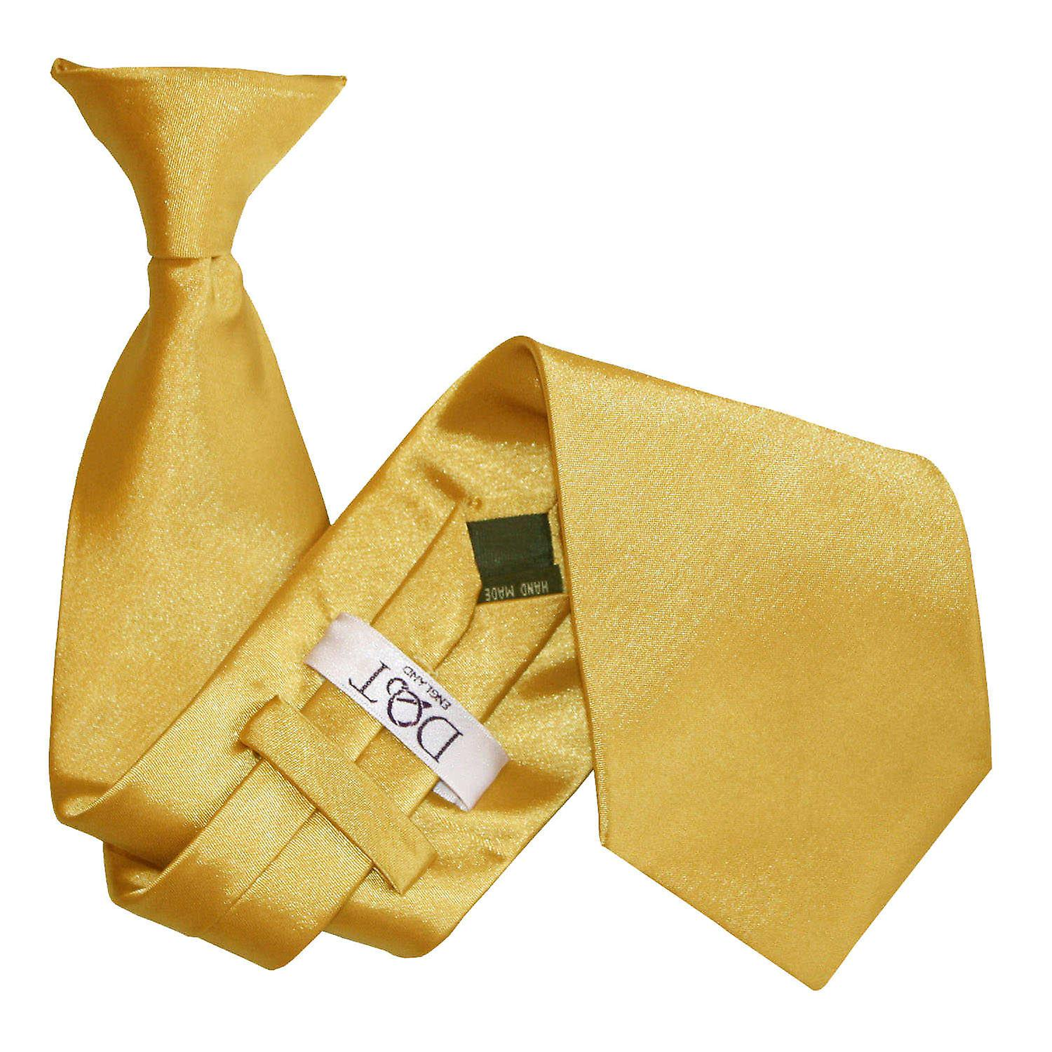 Plain Gold Satin Clip On Tie
