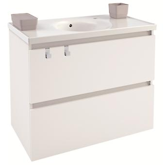 Bath+ Cabinet 2 Drawers With White Porcelain Sink Brightness 80Cm