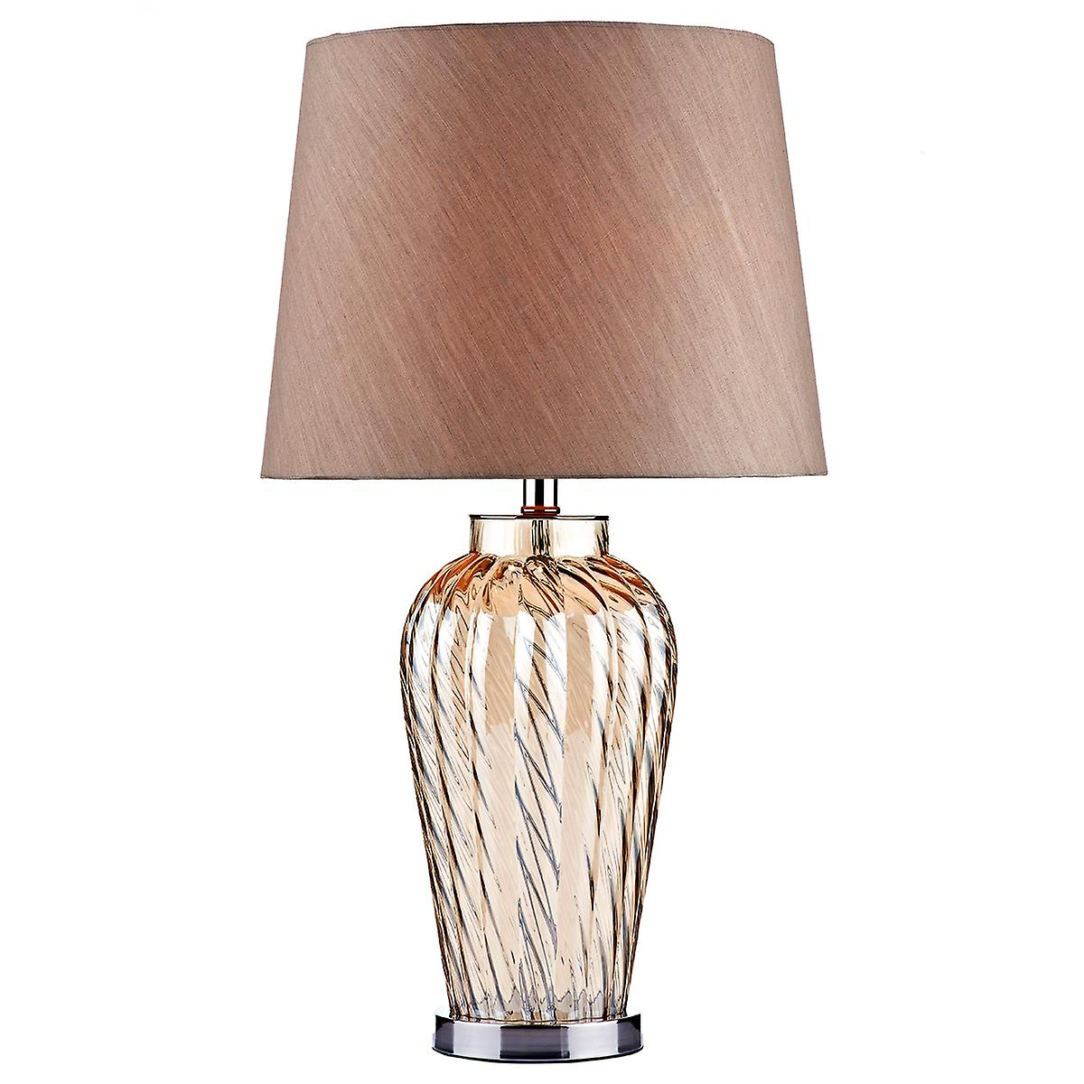 Dar LIL4220 Lilly Champagne Glass Table Lamp With Shade