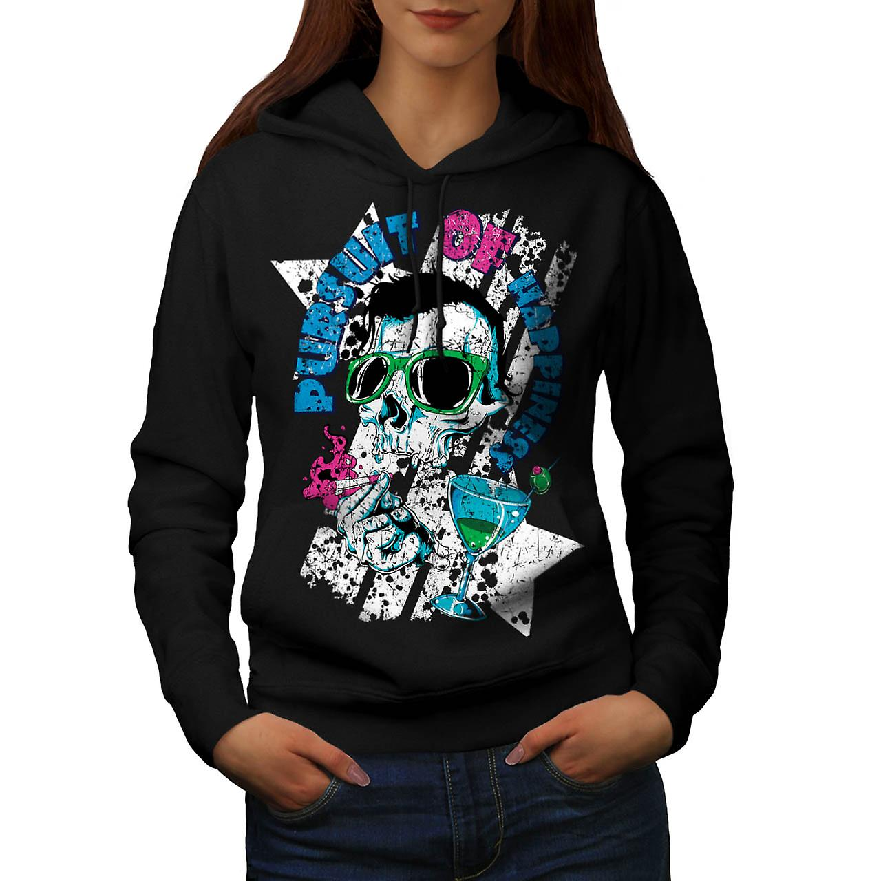 Pursuit Of Happiness Skull Drink Women Black Hoodie | Wellcoda