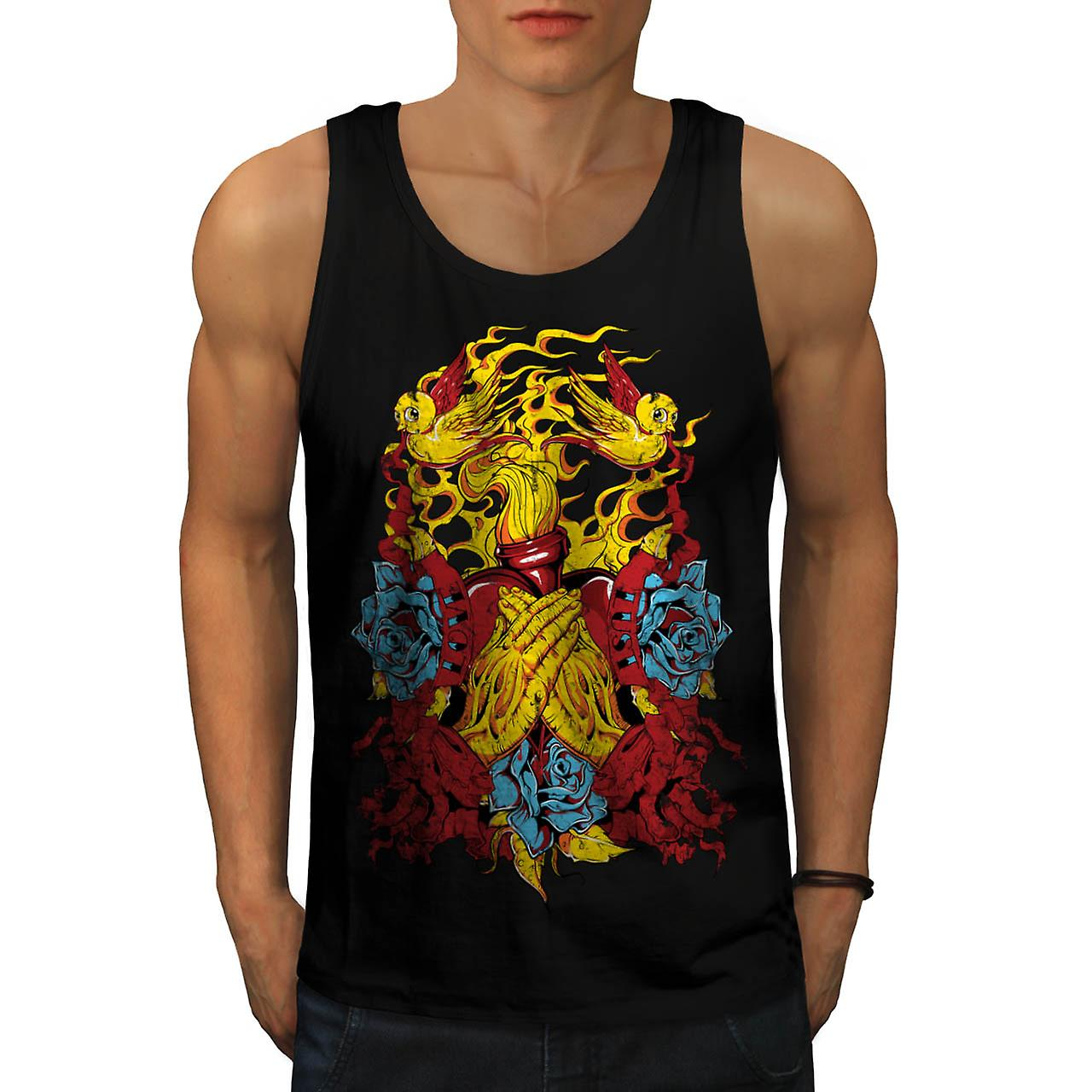 Heart Beats Prayer Love Fire USA Men Black Tank Top | Wellcoda
