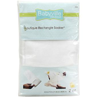 Babyville Boutique Rounded Rectangle Soaker 2/Pkg-White 35302