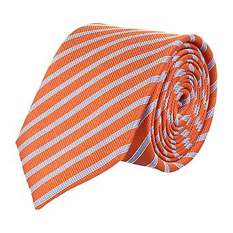 Pelo classic silk tie necktie silk Orange - silver striped