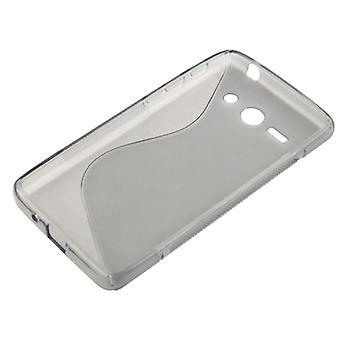 Cell phone cover silicone case (S-curve) for mobile Huawei Ascend Y530 grey