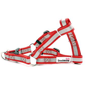 Doodlebone Reflective Bold Tape Harness Red Large 25mm X50-75cm