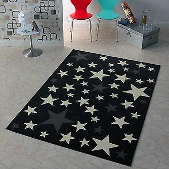 Design velour carpet star grey cream 140 x 200 cm | 102167