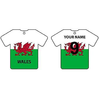 Personalised Wales Flag Jersey Car Air Freshener