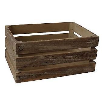 Small Oak Effect Slatted Wooden Storage Crate