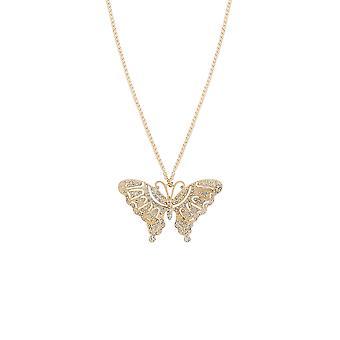 Lange Halskette mit Diamante Schmetterling Anhänger