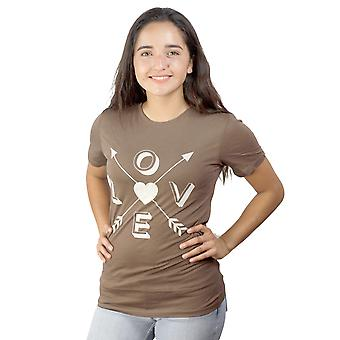 Divine 79 Love Arrows Graphic Design Junior's Brown Printed Front Casual T-shirt