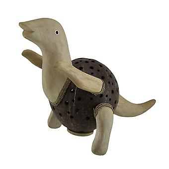 Dinosaurus Rex Wood & Coconut Shell Coin Bank