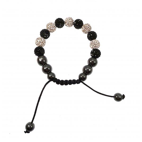 W.A.T Sparkling Clear Crystal Macrame Glitterball Ball Bracelet