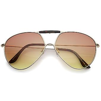 Modern Brow Bar Slim Temple Metal Frame Gradient Colored Lens Aviator Sunglasses 62mm