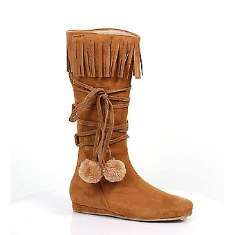 Ellie Shoes E-014-Dakota 1 Heel Boot with fringe and poms Children