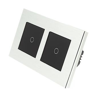 I LumoS Silver Brushed Aluminium Double Frame 2 Gang 1 Way Touch Dimmer LED Light Switch Black Insert