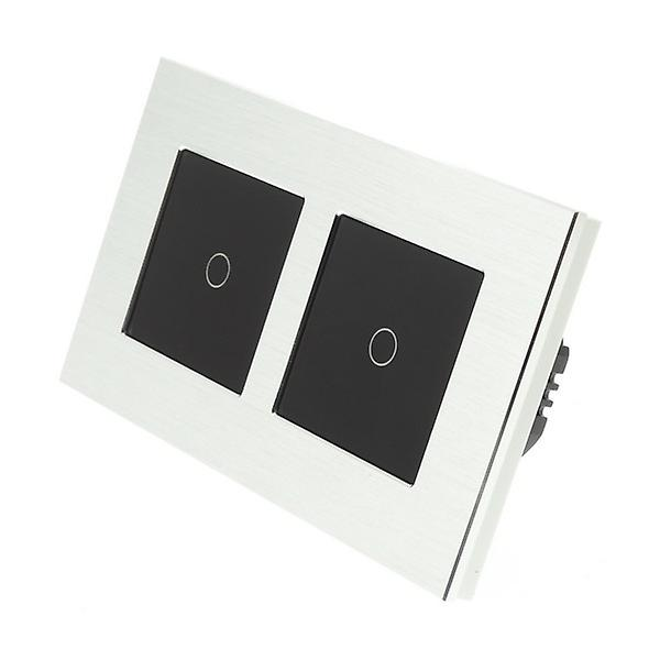 I LumoS argent Brushed Aluminium Double Frame 2 Gang 1 Way Touch Dimmer LED lumière Switch noir Insert
