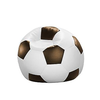 Bean bag cushion football white Brown leatherette 90 x 90 x 90 cm