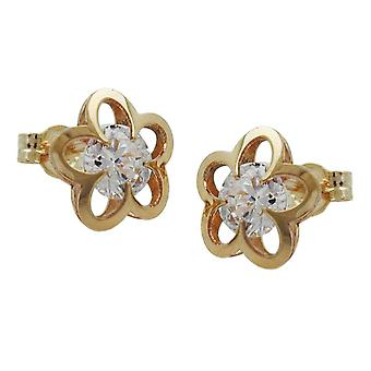 Earrings gold 375 gold earrings, flower with cubic zirconia, 9 KT GOLD