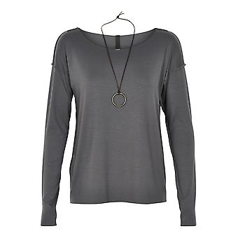 Henriette Steffensen ladies long sleeve shirt in grey with decorative chain