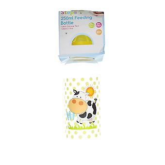 First Steps 250ml Baby Feeding Bottle With Silicone Teat & Yellow Lid � Cow