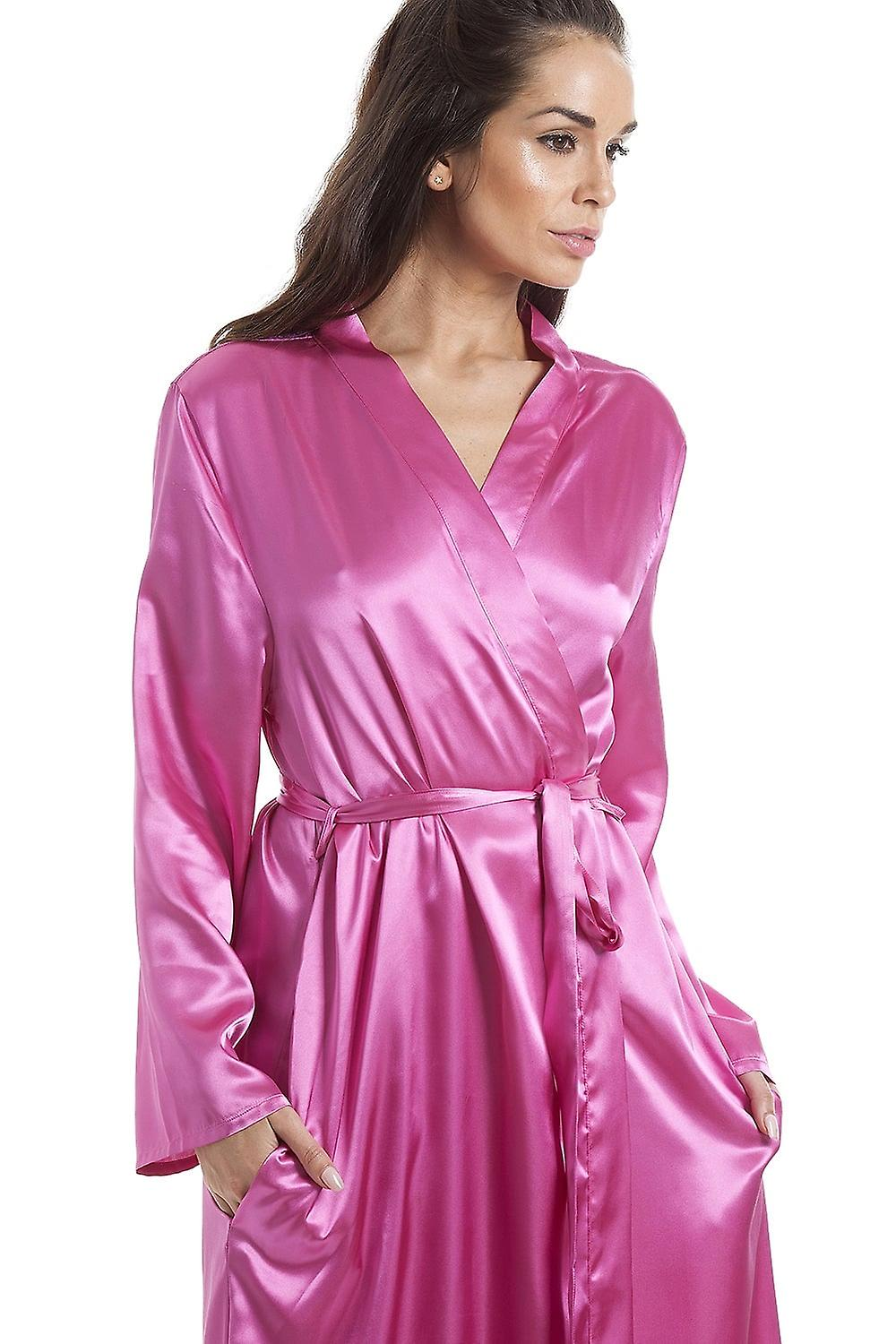 Camille Womens Pink Luxury Satin Dressing Gown | Fruugo