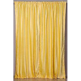 Yellow Rod Pocket  Velvet Curtain / Drape / Panel  - Piece