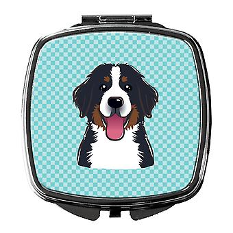 Checkerboard Blue Bernese Mountain Dog Compact Mirror
