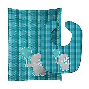 Carolines Treasures  BB6835STBU Elephant with Balloon Baby Bib & Burp Cloth