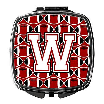 Letter W Football Cardinal and White Compact Mirror
