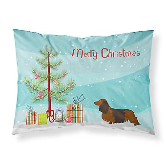 Longhaired Dachshund Christmas Fabric Standard Pillowcase