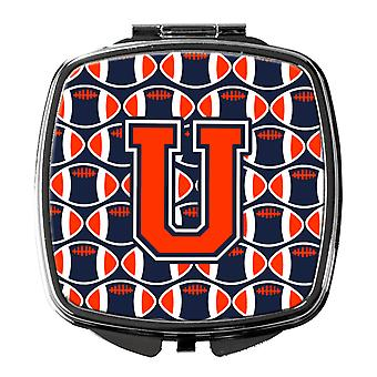 Letter U Football Orange, Blue and white Compact Mirror