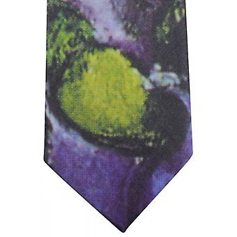 Sorrento Abstract Printed Tie - Purple/Green/Yellow