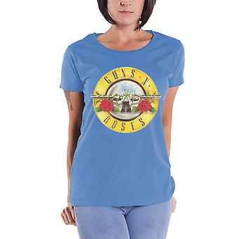 Guns N Roses T Shirt klassisk Bullet band Logo officielle dame Skinny Fit blå