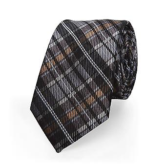 Marcell Sanders necktie silk tie checkered silk grey