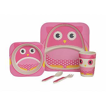 Navigate My Little Lunch 5 Piece Bamboo Dinner Set, Pink Owl