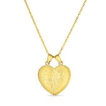 10k amarillo oro mejor amante roto corazón amor colgante collar de encanto