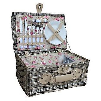 2 Person Garden Rose Chilled Wicker Fitted Picnic Basket