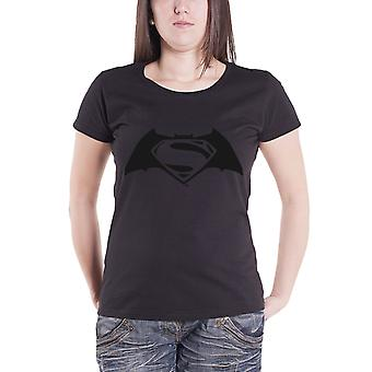 Batman vs Superman T Shirt Embossed Logo Official Womens New Black Skinny Fit