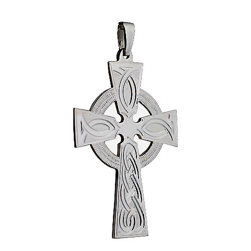 Silver 50x36mm hand engraved knot pattern Celtic Cross