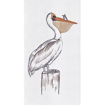 Coastal Bird Pelican on Pier Piling Flour Sack Kitchen Towel 27 Inch