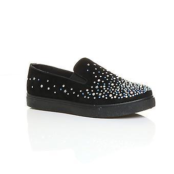 Ajvani Womens flache Diamante jeweled Juwel Sandaletten Trainer Sneaker